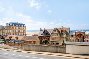 Street view in Trouville, famous french town in Normandy