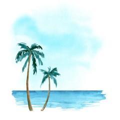 Hand drawn watercolor palm beach and ocean