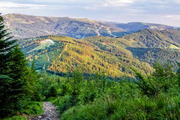View of Polish mountain Skrzyczne from Beskidy Mountains - Klimczok peak (Beskid Slaski). Beskid Slaski is a part of Karpaty (Carpathian mountains). Europe