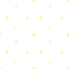 Seamless pattern of hand-drawn yellow hearts on a transparent background. Vector image for a holiday, baby shower, birthday, Valentine's Day, wrappers, prints, clothes, cards, banner, textiles.