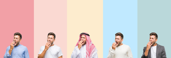 Collage of handsome young man over colorful stripes isolated background bored yawning tired covering mouth with hand. Restless and sleepiness.