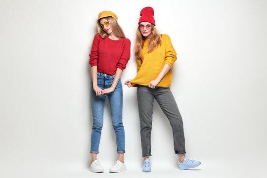 Two Girls Having Fun. Fashion Autumn Outfit
