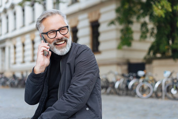 Businessman listening to a mobile phone call
