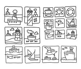 Sea cartoon sketch. Fullsize raster artwork.
