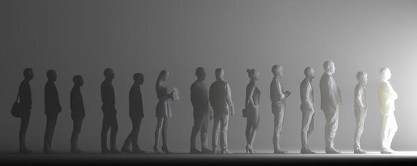 Menschen stehen in einer Reihe und warten auf etwas