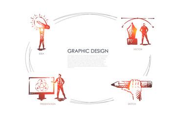 Graphic design - idea, sketch, presentation, vector concept set