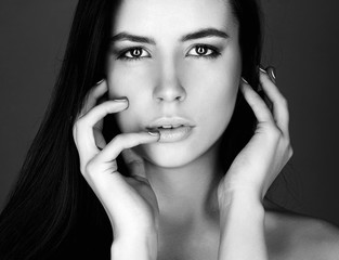 face of beautiful woman. black and white portrait