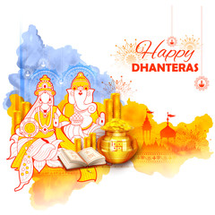 Gold coin in pot for Dhanteras celebration on Happy Dussehra light festival of India background