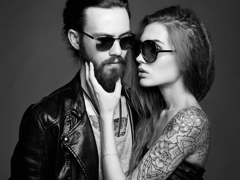 bearded Hipster boy and beauty girl