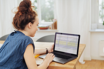 young businesswoman working on a spreadsheet