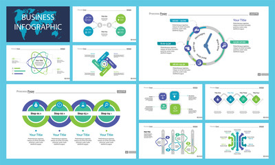 Creative infographic diagrams with geometric elements for project management concept. Can be used for business project, annual report, web design. Process chart, option chart, flowchart, donut diagram