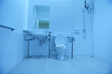 Accessible bathroom for the disabled or elderly. Disabled and elderly toilets in Asian Hospital