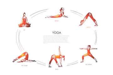 Yoga - sit, bend, arch, his arms, sag, tip over vector concept set