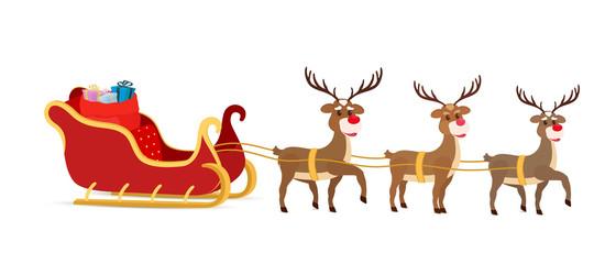 Vector cartoon sleigh, reindeers, sled of Santa Claus.