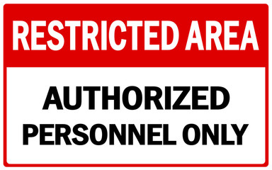 Vector Prohibited Sign Restricted Area For Authorized Personnel Only or No Enter Sign in Caution Zone Wall mural