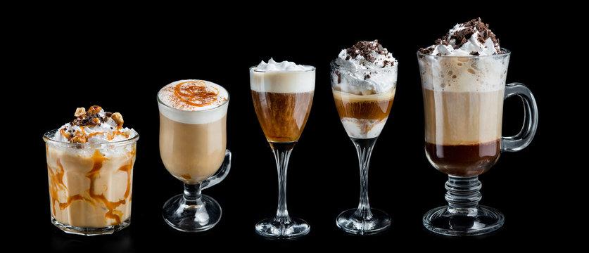 Set glass of coffee