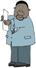Illustration of a black businessman holding up a piece of paper or form.