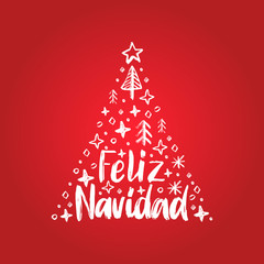 Feliz Navidad, handwritten phrase, translated from Spanish Merry Christmas. Vector decorative spruce illustration.