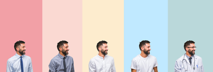 Collage of handsome man over colorful stripes isolated background looking away to side with smile on face, natural expression. Laughing confident.