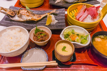 Japanese food set , sashimi and  grilled fish.