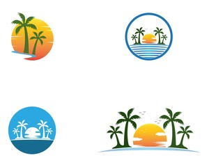 Palm tree summer holidays logo vector