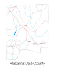 Detailed map of Dale county in Alabama, USA