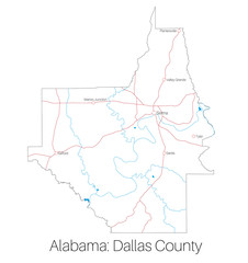 Detailed map of Dallas county in Alabama, USA