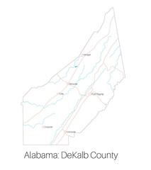 Detailed map of DeKalb county in Alabama, USA