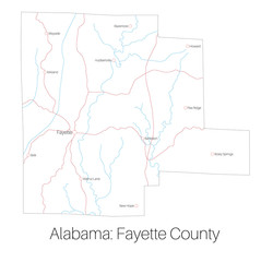 Detailed map of Fayette county in Alabama, USA