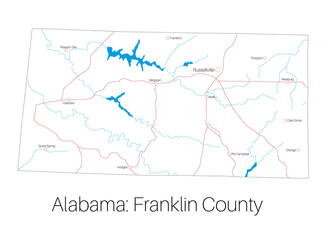 Detailed map of Franklin county in Alabama, USA