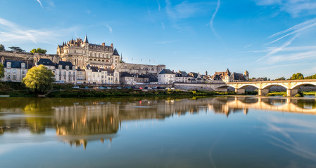 Amboise Castle at sunrise over Loire river