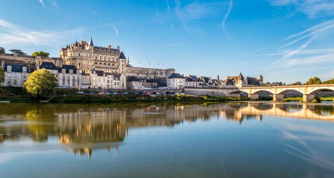 Amboise Castle at sunrise over Loire river
