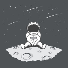 Cute astronaut sits on Moon and looking to stars.Space theme.Hand drawn vector illustration