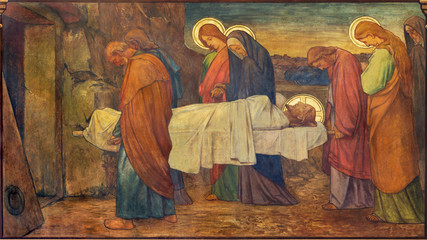 Wall Mural - PRAGUE, CZECH REPUBLIC - OCTOBER 13, 2018: The fresco of Burial of Jesus in church kostel Svatého Václava by S. G. Rudl (1900).