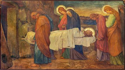 PRAGUE, CZECH REPUBLIC - OCTOBER 13, 2018: The fresco of Burial of Jesus in church kostel Svatého Václava by S. G. Rudl (1900).