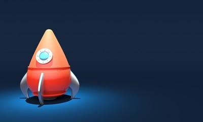 Rocket on blue background. Business Startup concept. 3d rendering