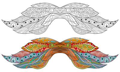 Mustache ornate sketch for your design. Drawing, floral