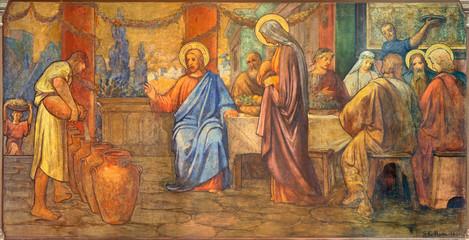 Fototapete - PRAGUE, CZECH REPUBLIC - OCTOBER 13, 2018:  The fresco of The wedding at Cana in church kostel Svatého Václava by S. G. Rudl (1900).