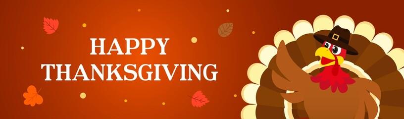 Happy Thanksgiving banner vector illustration, Turkey bird on brown background