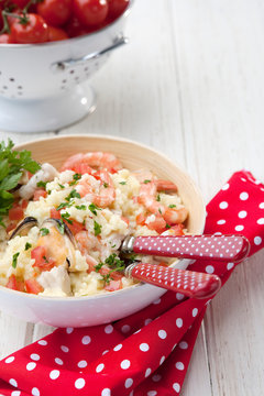 Close up of seafood risotto in bowl