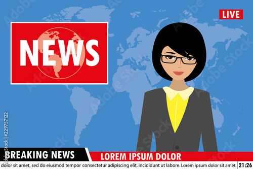 news anchor on tv breaking news background,