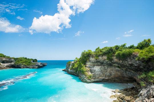 blue bay lagoon near Bali in Indonesia, Nusa Penida