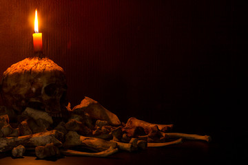 Candlestick skull and bones on dark background, Still Life style, Concept halloween day theme.