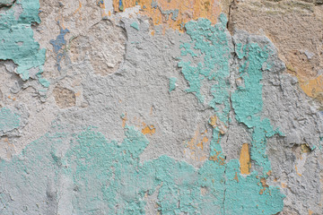 Fotobehang Oude vuile getextureerde muur Close-up detail of cracked paint on wall.