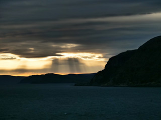 Sunrays in a fjord in Norway