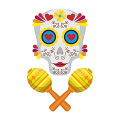 mask of the santa death with maracas