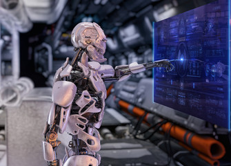 Robot cyborg in the futuristic interior  touching sensitive sci fi display with futuristic user interface. Innovative artificial intelligence concept. 3D illustration