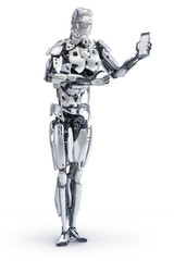 Robot pointing finger at smartphone with blank screen. Android, humanoid or cyborg  technology concept. 3D illustration.