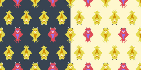 Seamless pattern vector with frogs on dark and light background. Can be used on packages, wrapping paper, wallpaper in childroom, textile or any other background
