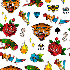 Various traditional style tattoos. Hand drawn colored vector seamless pattern